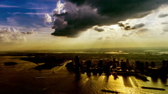 At sunset, aerial view of Jersey City, NJ, USA - stock footage