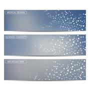 Modern science banners. Molecule structure of DNA and neurons Stock Illustration
