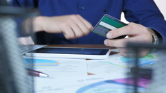 Using Credit Card and tablet for internet order Stock Footage
