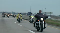 Patriotic Bikers with Flags Escort World Trade Center Steel Beams Indianapolis - stock footage
