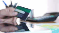 Shopping Via Internet Using Credit Card Stock Footage
