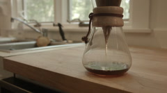Chemex Pour Over Brewing, Time Lapse of process, Summer Morning Stock Footage