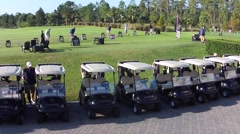 Golf Carts and Driving range B Stock Footage