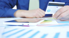 Credit Card In Office Stock Footage