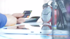 Using Credit Card In Office Businessman Stock Footage