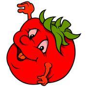 Smiling Tomato - stock illustration