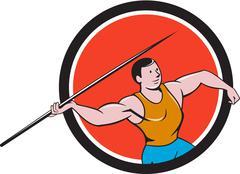 Javelin Throw Track and Field Circle Cartoon - stock illustration