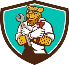 Leopard Mechanic Spanner Monkey Wrench Crest Cartoon Stock Illustration