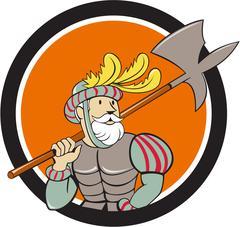 Spanish Conquistador Ax Sword Circle Cartoon - stock illustration