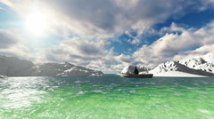 Fisherman on small boat at fjords 3d man - stock footage