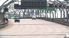 RUSSIA ST.PETERBURG- 28 MAY 2016: Car Traffic on Modern Highway on a hot day Stock Footage