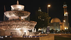 Al Fateh Grand Mosque at night with fountain in the foreground. Bahrain. Stock Footage