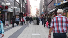 Time Lapse Zoom of People walking in Shopping Plaza - Stockholm Sweden - stock footage