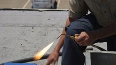 Worker Strikes Welding Torch Stock Footage