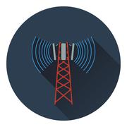 Cellular broadcasting antenna icon - stock illustration