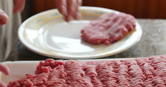 Raw Hamburger Patty Being Made For Dinner, 4K Stock Footage