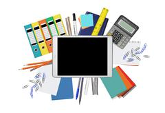 Creative top view of tablet PC with office supplies Stock Illustration