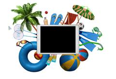 Creative top view of tablet PC with beach summer accessories Stock Illustration