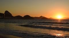 Copacabana Beach by Sunrise, Rio de Janeiro Stock Footage