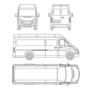 van template. commercial vehicle. Blueprint, drawing, proection, all view bus - stock illustration