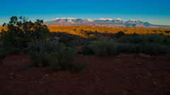 La Sal Mountains Arches Sunset hyperlapse time-lapse Stock Footage