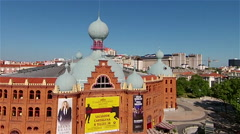 aerial bullfight theatre Lisbon - stock footage