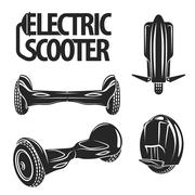 Graphic collection of electric scooters drawn in line art style. Mono wheel and Stock Illustration