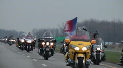 10,000 Bikers Escort World Trade Center Beams Project 911 Indianapolis 4/9/2011 - stock footage