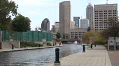 Downtown Indy Canal Area shot outside Indiana State Museum Stock Footage