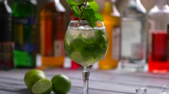 Mint branch and green cocktail. Stock Footage