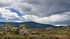 Clouds in the mountains landscape timelapse, there's a storm coming Stock Footage