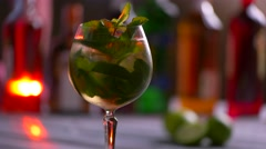 Glass of beverage is rotating. Stock Footage