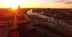 Fly over of the Guthrie Theatre in Minneapolis Stock Footage