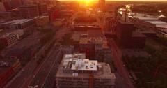 Aerial pan up on Minneapolis - stock footage