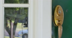 Opening Green Door to Home as A Sign of Welcome Dolly Shot, 4K Stock Footage