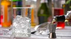 Jigger and jug with ice. Stock Footage