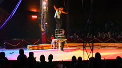 Man circus performer on the performance at the circus Stock Footage