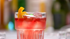 Glass with red drink. Stock Footage