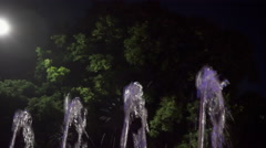 Thin Jet Fountain in Night Park Stock Footage