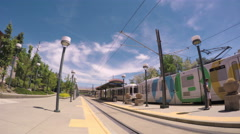 Downtown Littleton light rail station in the Summer. Stock Footage