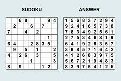 Vector Sudoku with answer. Stock Illustration