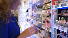 Woman Shopping in Beauty Store Stock Footage