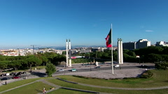 Aerial shot of Edward VII park in Lisbon Stock Footage
