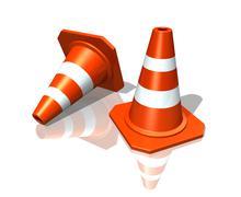 Orange highway traffic construction cones Stock Illustration