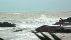 Fisherman in Rough Seas Stock Footage