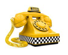 Yellow Taxi Car Sign and Telephone - stock illustration