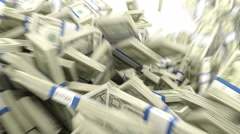Y-shaped US dollar bundles flow with slow motion 4k. Wealth and money Stock Footage