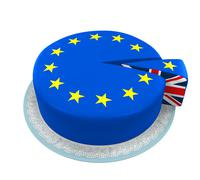 Great Britain Flag as Piece of European Union Cake Stock Illustration