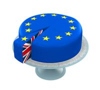 Great Britain Flag as Piece of European Union Cake - stock illustration