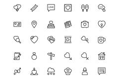 Love-and-romence-4Love and Romance Vector Line Icons Set - stock illustration